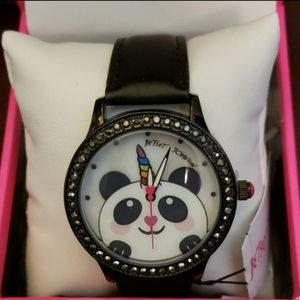 Betsey Johnson panda unicorn black strap watch